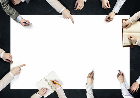 Top view of people hands drawing business teamwork strategy
