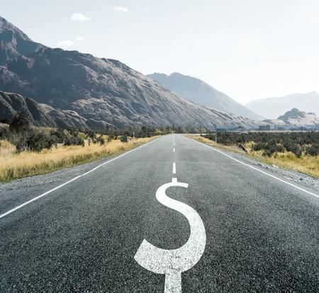 financial stability: Dollar symbol on endless asphalt road as symbol of financial stability