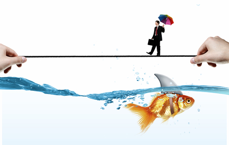 risky job: Concept of fake threat when businessman walking on rope above water with shark appear to be goldfish Stock Photo