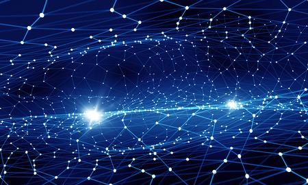 Blauer virtueller Technologiehintergrund mit Linien und Gittern Standard-Bild - 50686172