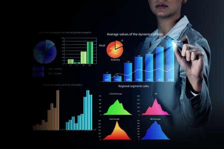 liderazgo empresarial: Cerrar la vista de dibujo empresaria en el mercado infograf�as pantalla