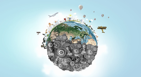 mechanical: Earth planet made of gears. Elements of this image are furnished by NASA