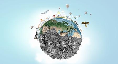 herramientas de mecánica: Planeta Tierra hecha de engranajes. Elementos de esta imagen son proporcionados por la NASA