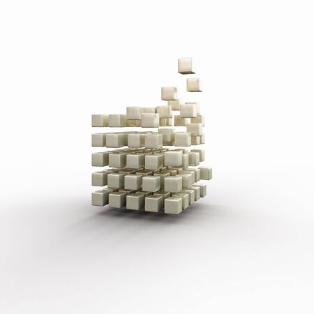 disintegrating: Futuristic concept with disintegrating cube on white background