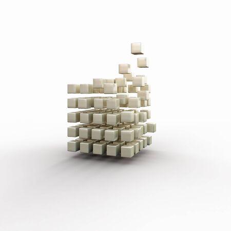 Concepto futurista con desintegración de cubo en el fondo blanco