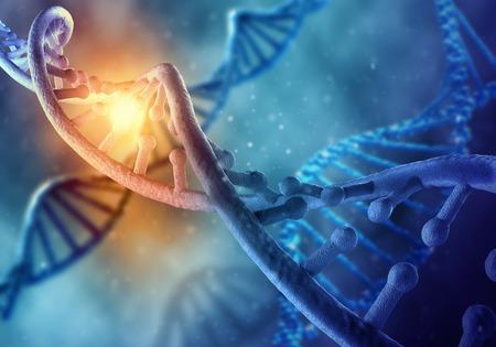 Het concept van de biochemiewetenschap met DNA-molecule op blauwe achtergrond