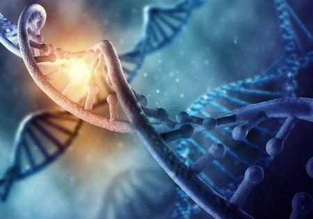 파란색 배경에 DNA 분자와 생화학 과학 개념