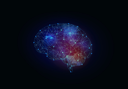 Digital blue grid brain on dark background