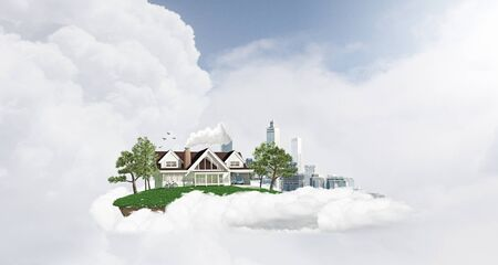suburban: White cloud with model of modern city and suburban house Stock Photo
