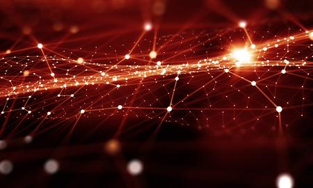 Rode virtuele technologieachtergrond met lijnen en netten Stockfoto