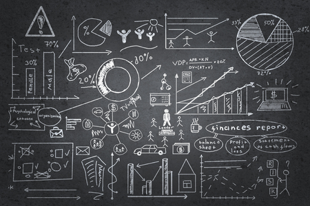 start business: Background image with chalk drawn business strategy plan on board