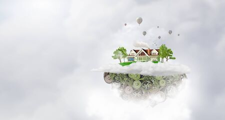 flying float: Green island of gears floating in sky as eco concept