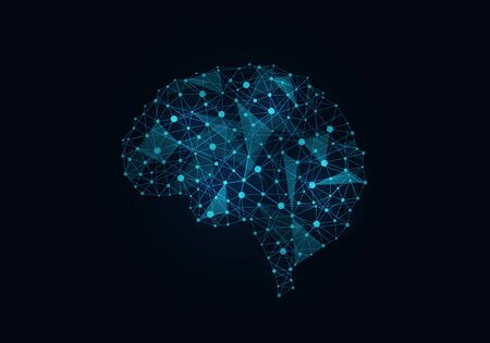 grid background: Digital blue grid brain on dark background