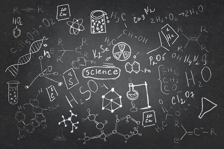 drawings image: Background image with chemistry lesson drawings on chalkboard Stock Photo