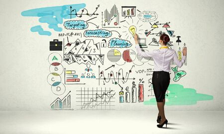 business ideas: Back view of businesswoman drawing colorful business ideas on wall Stock Photo