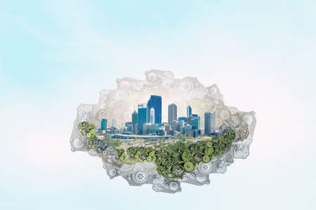 green technology: Island green city of gears floating in sky
