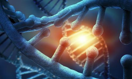 molecula: Concepto de ciencia Bioquímica con la molécula de ADN en el fondo azul