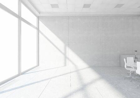 Elegant office interior 3d design with panoramic window