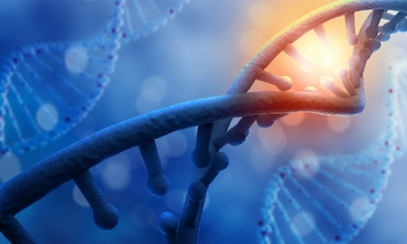 與藍色背景上的DNA分子生物化學科學概念