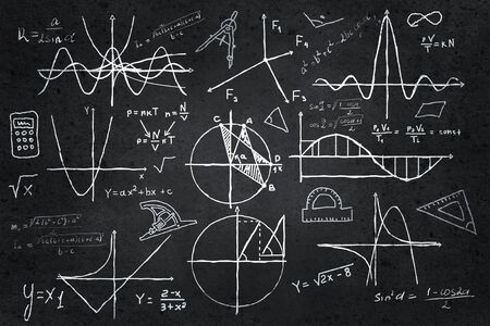drawings image: Background image with science drawings on chalkboard Stock Photo