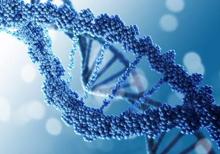 genomes: Biochemistry science concept with DNA molecule on blue background