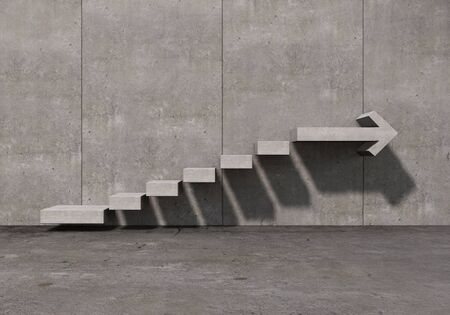Concrete kamer met grafiek trap op de muur omhoog gaan