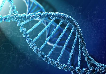 青の背景に DNA 分子生化学学の概念