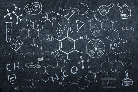 chemistry lesson: Background image with chemistry lesson drawings on chalkboard Stock Photo