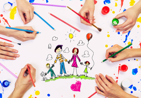 People hands draw and paint happy family concept