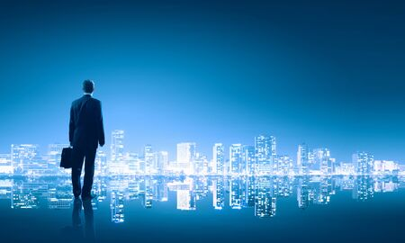 panoramic business: Businessman standing with back against night city panoramic view