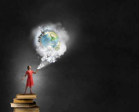 broaden: Young woman in red dress with book in hand. Elements of this image are furnished by NASA