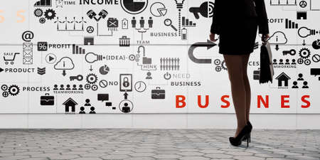 market bottom: Rear view of businesswoman with suitcase looking at business ideas
