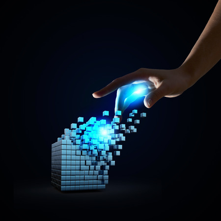 thinking outside the box: Businessman hand touch digital cube as thinking outside the box concept