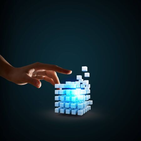 technology symbols metaphors: Businessman hand touch digital cube as thinking outside the box concept