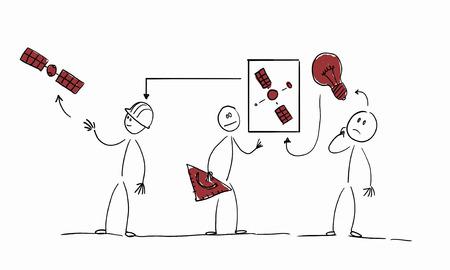 bright idea: Caricature image of bright idea realization on white background