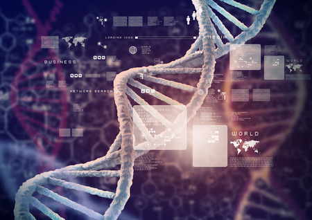Fondo de alta tecnología molécula de ADN como concepto de la ciencia bioquímica Foto de archivo