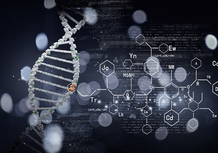 High technology DNA molecule background as biochemistry science concept Imagens