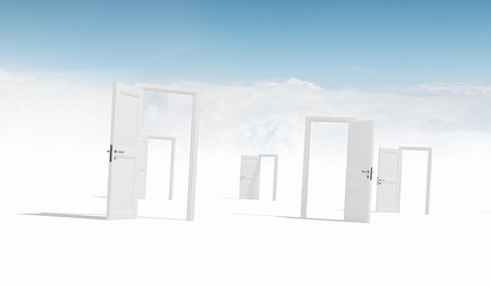 cloudy home: Many home white door open in cloudy sky Stock Photo