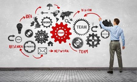 Biznesmen stoi z tyłu i rysunek mechanizm zmiany biegów