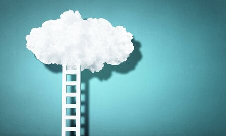 minimalistic: Minimalistic design with ladder leading to white cloud