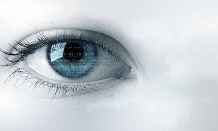 blue eye: Beautiful female eye in sky as vision concept