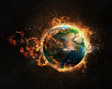 Burning Earth Planet on dark background. Elements of this image are furnished by NASA