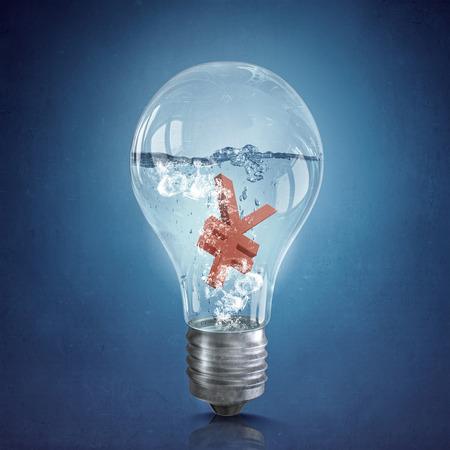 programm: Glass light bulb with yen symbol floating inside