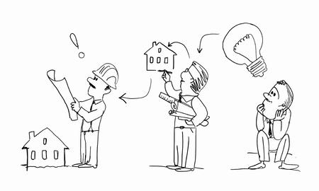 arquitecto caricatura: imagen de caricatura de la idea y el proceso lograr el �xito en el fondo blanco