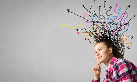 choose university: Thinking woman making decision and ideas coming out of her head