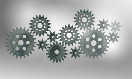 harmonious: Concept of harmonious working mechanism with gears and cogwheels