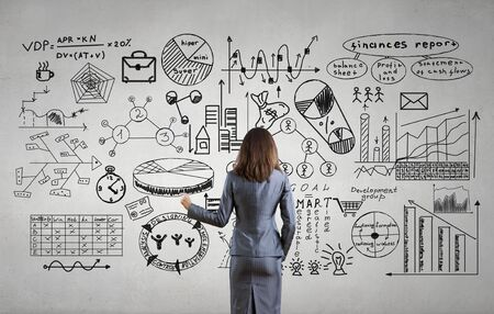 Businesswoman standing with back and drawing business development sketches for success achieving on screen Stock Photo