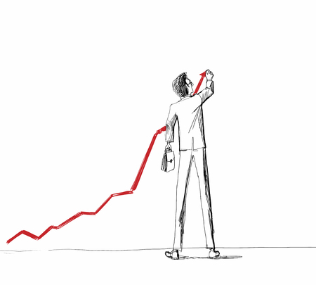 tall: Caricature of businessman with tall legs drawing growing arrow