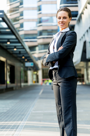 attractive  female: Portrait of young business woman outdoors Stock Photo