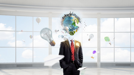 network map: Businessman with globe instead of head. Elements of this image are furnished by NASA